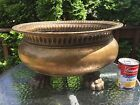 LARGE Vtg Antique Casagrande Italy 912 Clawfoot Hammered Brass Planter Art