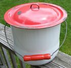 Vintage Enamelware Chamber Pot & Lid ~ White with Red Lid & Red Wood Handle