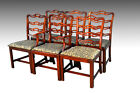 16603 Antique Vintage Set Six 6 Mahogany Ribbon Back Chippendale Dining Chairs
