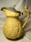 Ridgway Bacchus & Pan Relief Molded Stoneware Pewter Lid Pitcher 9