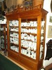 Antique LARGE 1800s Carved Oak Merchant Store Display Case Glass Cabinet Display
