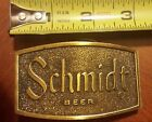 Vintage 1975 Schmidt Beer Brass Belt Buckle R-168 USA G Heileman Brewing Company