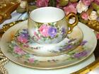 Austria Porcelain Trio Hand Painted Purple Mums Tea Cup and Saucer, Plate