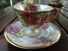 UCAGCO LUSTERWARE VINTAGE FOOTED TEACUP & SAUCER CHRYSANTHEMUM PEARLIZED GOLD