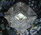 VINTAGE CANDY DISH SQUARE RUFFLED EDGE CLEAR INDIANA GLASS CUT DIAMOND POINT