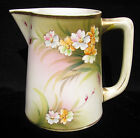 VINTAGE Nippon Bisque Porcelain Pitcher Hand Painted Floral Beaded 5.5
