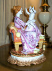 DRESDEN R.KLEMM 1888 RARE ANTIQUE MOTHER & SON ON LOUNGE CHAIR LARGE.PORCELAIN
