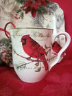 222 FIFTH HOLIDAY WISHES POINSETTIA CARDINAL CHRISTMAS MUGS SET OF 4 NEW
