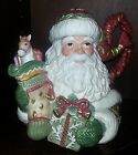 Fitz & Floyd Winter Holiday Santa Teapot hand painted ceramic retired mint cond