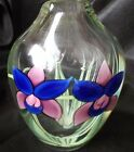 ORIENT & FLUME  VTG SIGNED AND NUMBERED DOUBLE ORCHID PAPERWEIGHT VASE