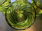 Handblown Swirl Pattern Green Glass Set 4 Mid Century Modern