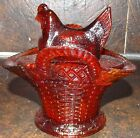 WESTMORLAND RUBY RED AMBERINA GLASS HEN LID ON BASKET BOWL 5W X 5D X 4H