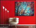 Huge Oil Original Painting Office Interior Autumn Forest Turquoise Sky 60