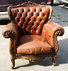 Brown Tufted Leather Club Lounge Chair with Carved Wood Nail Head Trim
