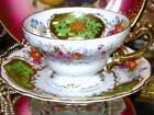 LIME GREEN & ETCHED GOLD ROSES OCCUPIED JAPAN FOOTED TEA CUP AND SAUCER * FAB!