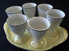 Vintage Luster ware Egg Cups Holders + Salt + Tray 1930-40's era Yellow Black