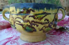 Rare & Colorful Antique French Earthenware Bowl ~ Two Handles & Footed Base