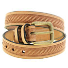 American Made 1 3/8 Natural Tan Harness Leather Embossed Belt Old Brass Buckle