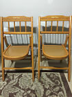 2 Vintage BABEE TENDA Child Wooden Folding Chairs with lock mechanism light wood