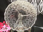 Round Antique Vintage Divided Glass Relish Candy Dish Sawtooth Hobnail