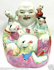 PORCELAIN LAUGHING BUDDHA WITH 5 KIDS STATUETTE
