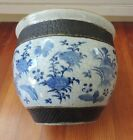 Antique Chinese Porcelain Fish Bowl Planter Pot Blue & White Birds Flowers 19th