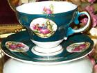 Royal Sealy FRAGONARD COURTING COUPLE TEAL & GOLD FOOTED Tea Cup and Saucer