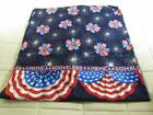Red White Blue 4th July God Bless America USA Fabric Cotton Blend 3-1/4 Yards