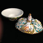 Vtg Capodimonte Pedestal Bowl lid Nude Figures Italy Hand painted Gilt 618 7