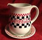 COCA COLA COKE PITCHER & BOWL 1996 GIBSON COLLECTILBE  Red White Black Checker