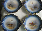 4 Cobalt blue French Sevres Porcelain plates Birds Handpainted Signed By Artist