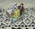 Vintage Couple Figurine with Miniature Trays Set / Japan Red Stamped *Free Ship