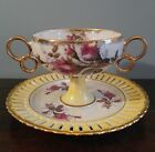 Vintage Lusterware Yellow w Pink Rose Pedestal Compote Dish Ring Handle Lattice
