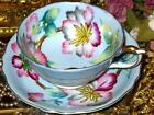 FLORAL CHINTZ HAND PAINTED on BLUE SHAFFORD JAPAN FOOTED Tea Cup