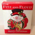 New! Fitz Floyd Essentials Merry Christmas Snowman Canape Plate 2006