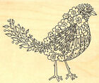Fancy Floral Bird Wood Mounted Rubber Stamp Impression Obsession L Hannan E2450