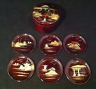 Vintage Lacquer Coasters Original Japan Set 6 Handcrafted Japanese Collectible
