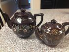 Two Vintage Japanese Brown Teapot with Raised Painted Flower Design Décor