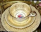 AYNSLEY TEA CUP AND SAUCER PLATE TRIO YELLOW & GOLD CHINTZ ROSE FLORAL TEACUP