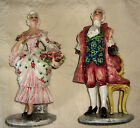 RARE CARLO MOLLICA 40'S VICTORIAN LRG. PAIR PORCELAIN FIGURINES SIGNED GORGEUOS