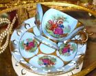 IRIDESCENT & BLUE COURTING COUPLE PIERCED TEA CUP AND SAUCER TRIMONT JAPAN FOOTE