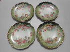 4 Old Antique Royal Saxe Germany Fruit Plates Cherries Pears Strawberries 8 1/8