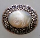 Gorgeous Sterling Silver 925 Mother of Pearl MOP Pin Brooch Pendant 22.7 grams