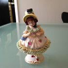 Vintage Victorian Meissen Porcelain German Dresden Lace Girl Figurine, Post-1940