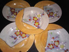 Luster Ware 5 Gold & White Plates Hand Painted Cherry Blossom Marked Green Japan