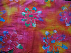Batik Fabric BTY Multi-Colored Floral on Bright Pink Orange Yellow 100% Cotton