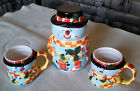 Holiday Ceramic Hand-Painted Snowman Cookie Jar with 2 Matching Mugs