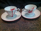 SET OF 2  DEMITASSE  / EXPRESSO CUPS AND SAUCERS MIKASA PURE RED # SL-134  NWT