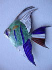 Vintage sterling silver 925 angelfish angel fish enamel brooch pin pendant large