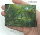 Philippe Fernandez Original ACEO Miniature Painting Trees Moon Landscape Forest